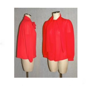 Vintage Tops - VTG 70s 80s era TRUE RED Pussy Bow Blouse Sheer